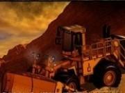 buldozer cupa  incarcat remorca