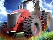 fermierul conduce tractorul de ferma cu remorca
