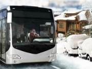 sofer de iarna pe autobuz